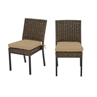 Laguna Point Brown 2-Piece Wicker Outdoor Patio Dining Chair with CushionGuard Toffee Solid Cushions