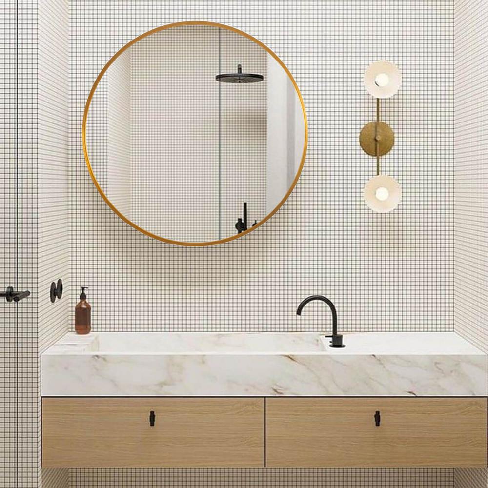 Medium Round Gold  Shelves & Drawers Modern Mirror (28 in. H x 28 in. W)