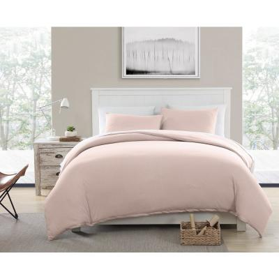 Eco-Friendly Recycled Cotton Blend T-shirt Jersey Pink Full/Queen Duvet and Sham Set