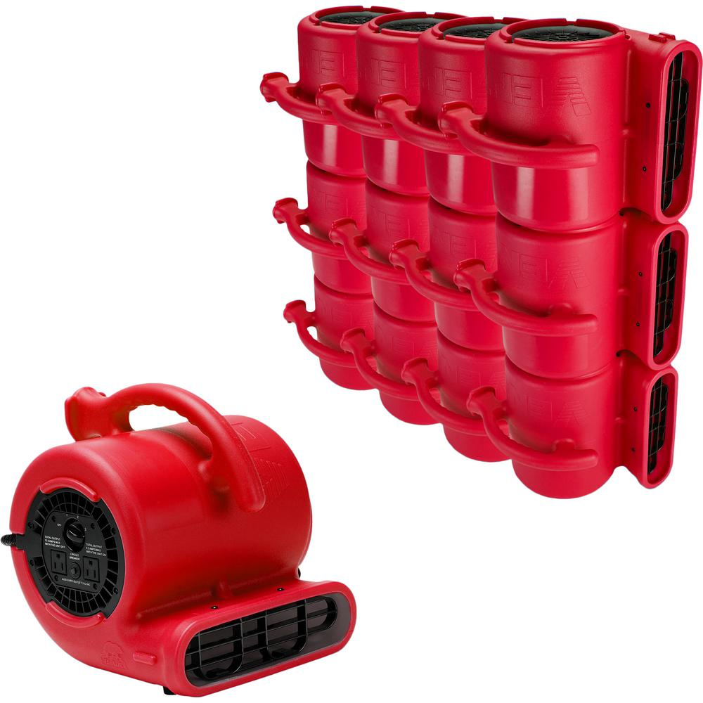 B-Air 1/4 Air Mover Carpet Dryer Floor Fan for Home Retail Plumbing Water Damage Restoration in Red (84-Pack)