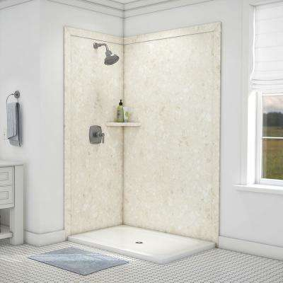 Elegance 36 in. x 48 in. x 80 in. 7-Piece Easy Up Adhesive Corner Shower Wall Surround in Calabria