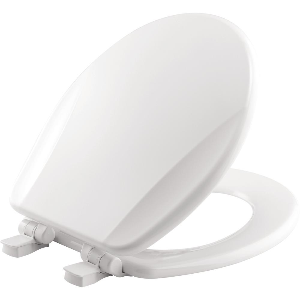 Slow Close Lift-Off Round Closed Front Toilet Seat in White
