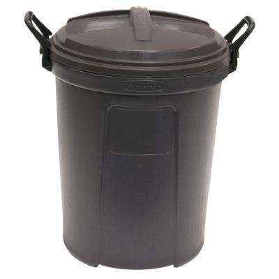 26 Gal. Trash Can in Black with Lid