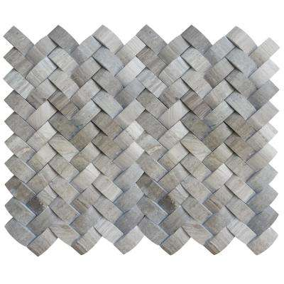 Limestone Gray Honed 11.22 in. x 13.31 in. x 12 mm Limestone Mesh-Mounted Mosaic Tile (1.04 sq. ft.)