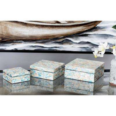 Rectangular Wooden Boxes with Lid and Multi-Colored Shell Inlays (Set of 3)