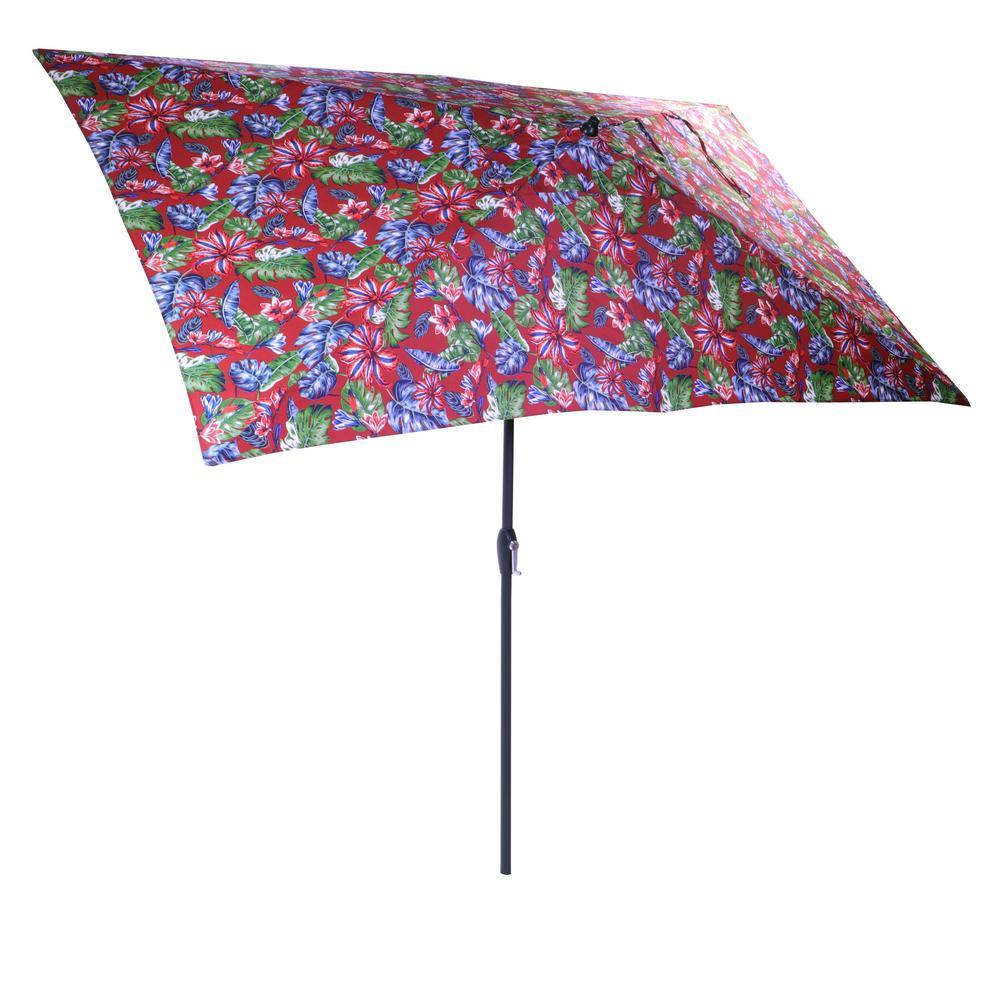 Hampton Bay 10 ft. x 6 ft. Aluminum Market Patio Umbrella in Ruby Tropical with Push-Button Tilt