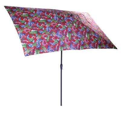 10 ft. x 6 ft. Aluminum Market Patio Umbrella in Ruby Tropical with Push-Button Tilt