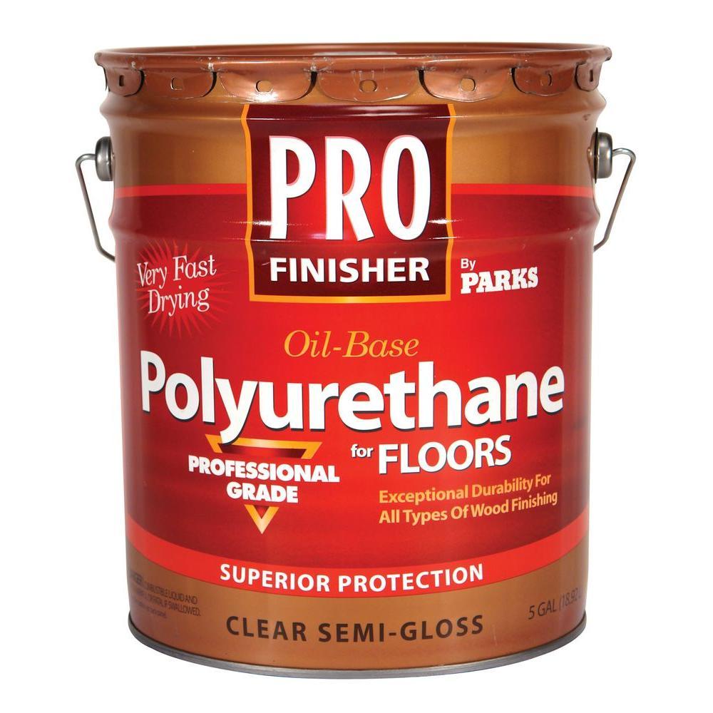 Rust-Oleum Parks Pro Finisher 5 gal. Clear Semi-Gloss 350 VOC Oil-Based Interior Polyurethane for Floors