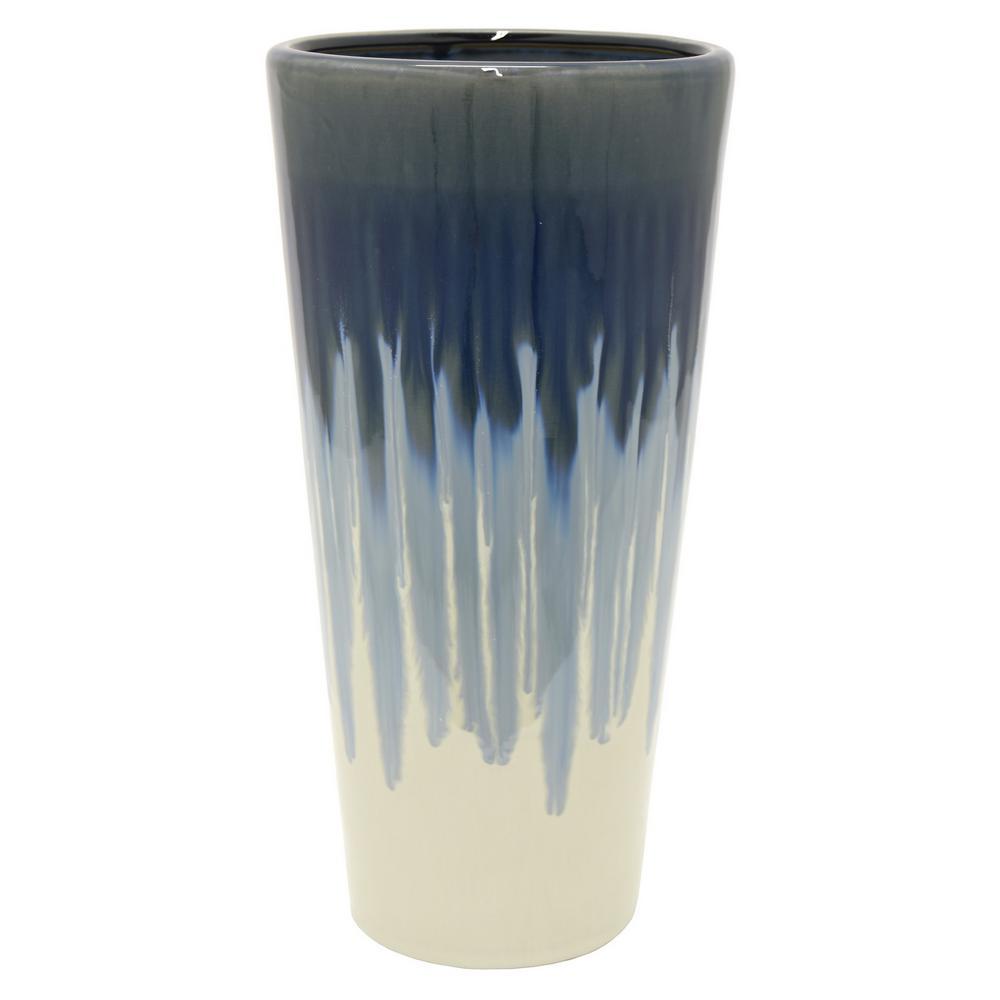 14.8 in. Blue Ceramic Decorative Vase