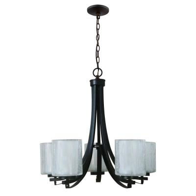 5-Light Modern Oil Rubbed Bronze Chandelier with Double Layered Clear Seeded Outer and Frosted Inner Glass