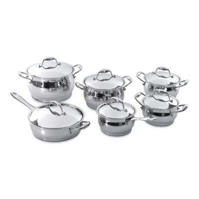 Zeno 12-Piece 18/10 Stainless Steel Cookware Set with Lids