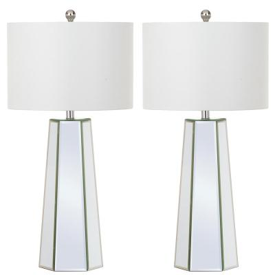 Janice 31.5 in. Clear Mirror Panel Table Lamp with White Shade (Set of 2)