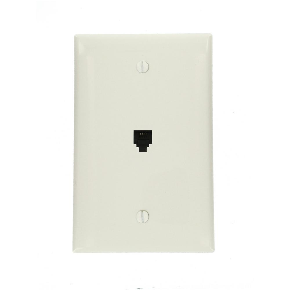 Phone Jack Wall Plates Jacks The Home Depot Telephone Socket Wiring Along With Residential Midway 6p4c White