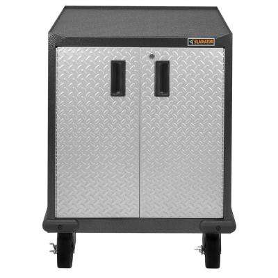 Premier Series Pre-Assembled 35 in. H x 28 in. W x 25 in. D Steel 2-Door Rolling Garage Cabinet in Silver Tread