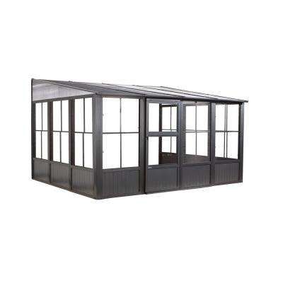 Charleston 10 ft. x 13 ft. Aluminum Wall-Mounted Solarium in Dark Gray