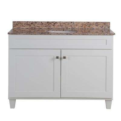 Lansbury 49 in. W x 22 in. D Bathroom Vanity in White with Stone Effects Vanity Top in Santa Cecilia with White Sink
