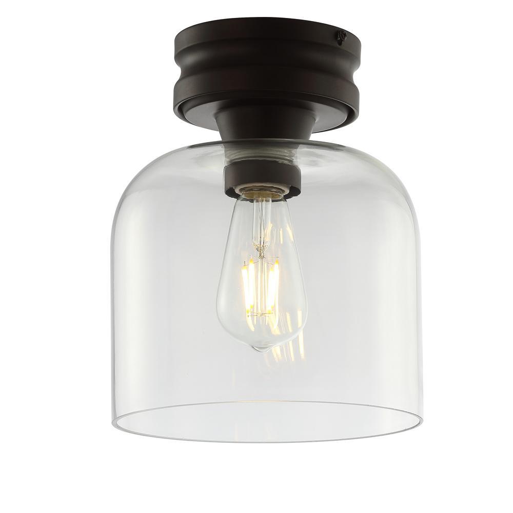 Domenic 7.75 in. Oil Rubbed Bronze Metal/Glass LED Flush Mount