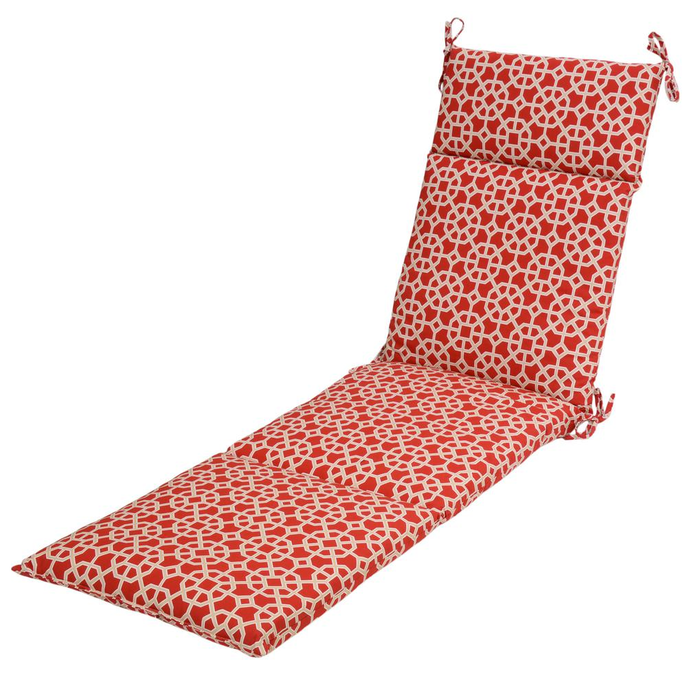 21.5 x 43 Outdoor Chaise Lounge Cushion in Standard Ruby Geo