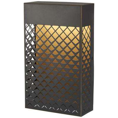 Guild 40-Watt Equivalence Oil Rubbed Bronze with Matte Gold Integrated LED Outdoor Poket Lantern