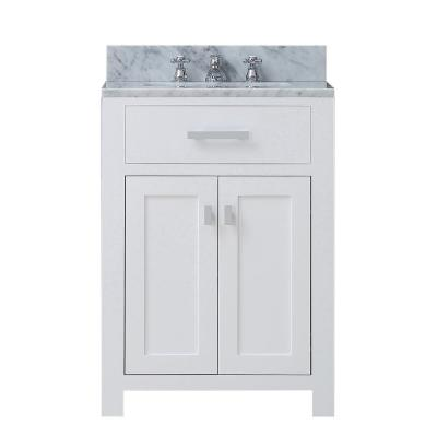 Madison 24 in. Vanity in Modern White with Marble Vanity Top in Carrara White