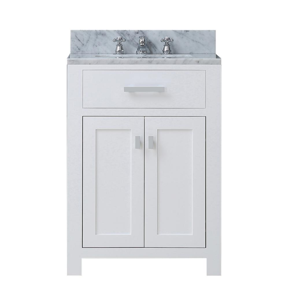Water Creation Madison 24 In Vanity Modern White With Marble Top Carrara