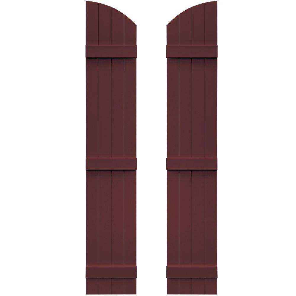 Builders Edge 14 in. x 77 in. Board-N-Batten Shutters Pair, 4 Boards Joined with Arch Top #167 Bordeaux