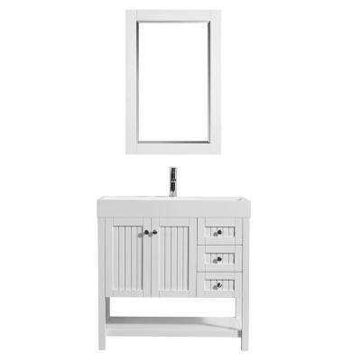 Pavia 36 in. W x 18 in. D Vanity in White with Acrylic Vanity Top in White with White Basin and Mirror
