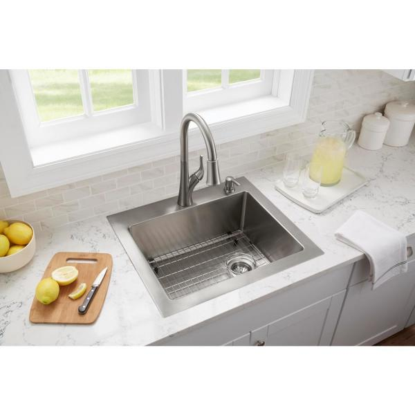 Glacier Bay All In One Tight Radius Stainless Steel 25 In 18 Gauge 2 Hole Single Bowl Dual Mount Kitchen Sink With Pull Down Faucet Vdr2522a1 The Home Depot