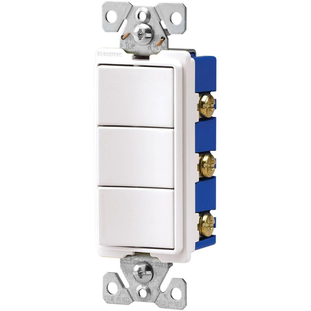 15 Amp Three Single Pole Combination Decorator Light Switch - White