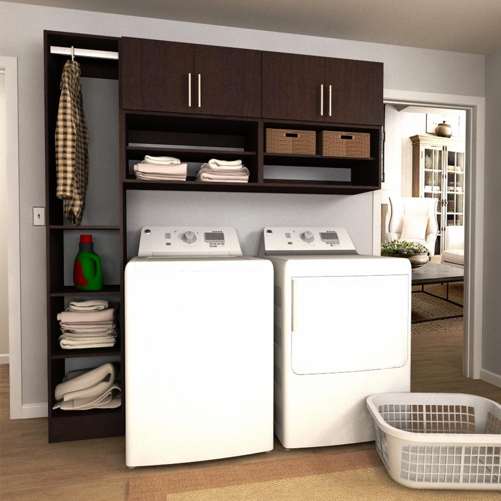 modifi horizon 75 in w mocha open shelves laundry cabinet kit enl75a hmg the home depot. Black Bedroom Furniture Sets. Home Design Ideas