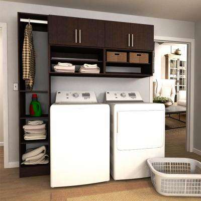 W Mocha Open Shelves Laundry Cabinet Kit