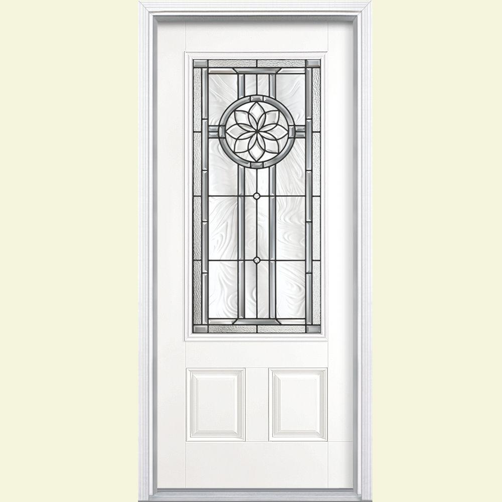 Masonite Carlsbad Three Quarter Rectangle Painted Smooth Fiberglass Prehung Front Door with Brickmold-DISCONTINUED