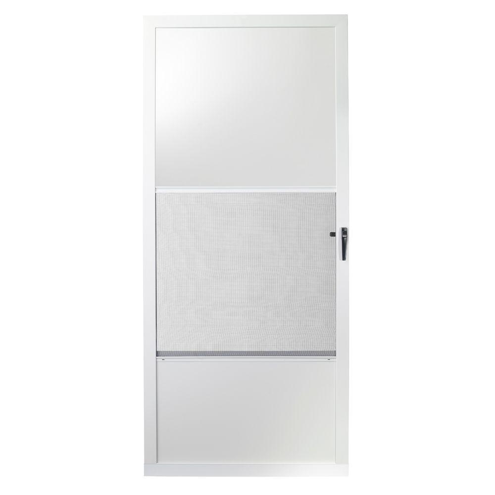 75 Series White Self-Storing Storm Door  sc 1 st  Home Depot & EMCO 32 in. x 80 in. 75 Series White Self-Storing Storm Door-E75SS ...
