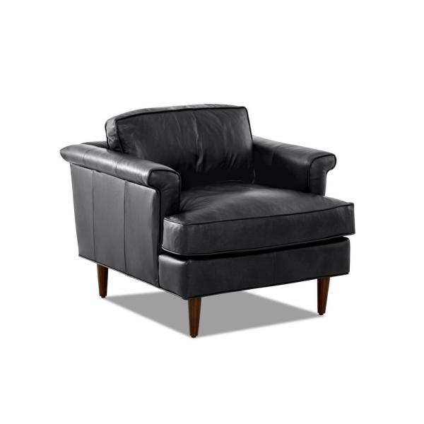 Malcolm Leather Down Blend Charcoal Accent Chair