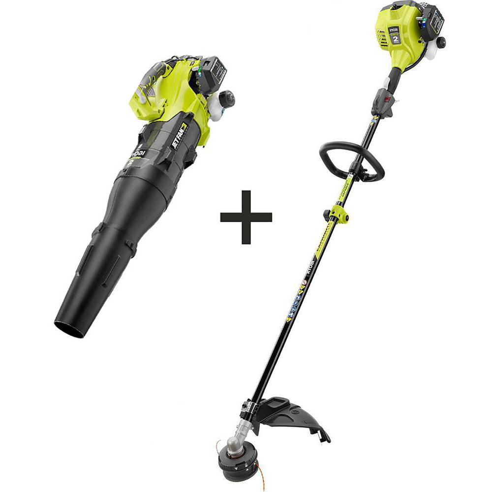 Ryobi 25 Cc 2 Cycle Attachment Capable Full Crank Straight Gas Shaft String Trimmer And 25 Cc Gas Jet Fan Blower Ry253ss 2x The Home Depot