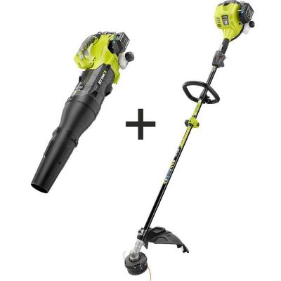 25 cc 2-Cycle Attachment Capable Full Crank Straight Gas Shaft String Trimmer and 25 cc Gas Jet Fan Blower