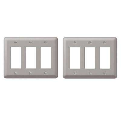 Steel 3 Decora Wall Plate in Pewter (2-Pack)