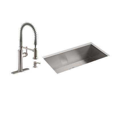 Lyric All-in-One Undermount Stainless Steel 32 in. Single Bowl Kitchen Sink with Sous Faucet in Vibrant Stainless