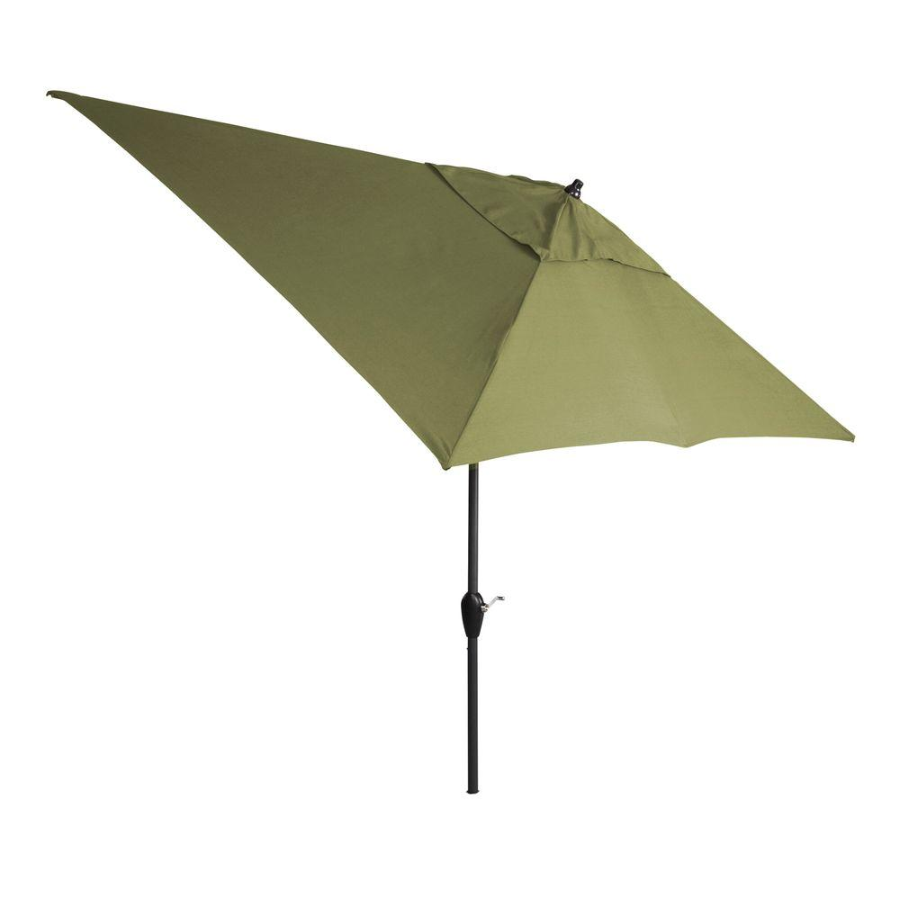 Hampton Bay 10 ft. x 6 ft. Aluminum Patio Umbrella in Celery with Push-Button Tilt
