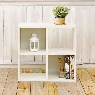 Quad 4-Cubby 12 x 26.4 x 24.8 zBoard  Stackable Bookcase, Tool-Free Assembly Storage Shelf in Pearl White