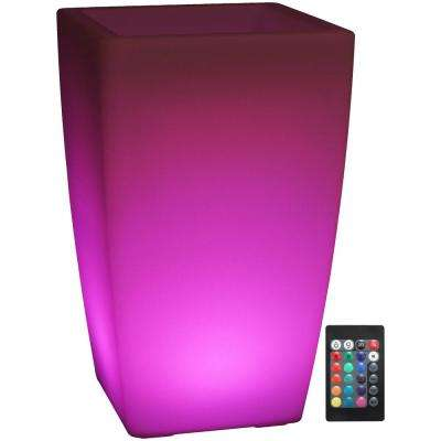 Indoor/Outdoor Square Poly LED Flower Pot with Remote Control and Rechargeable Battery