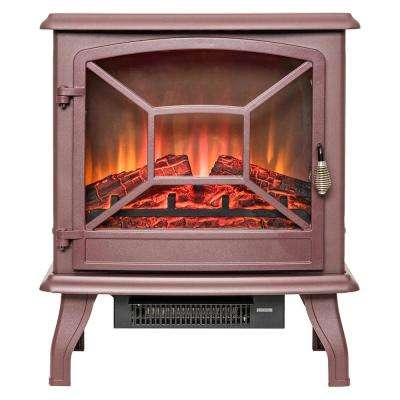 20 in. Freestanding Electric Fireplace Mantel Heater in Red with Tempered Glass and Logs