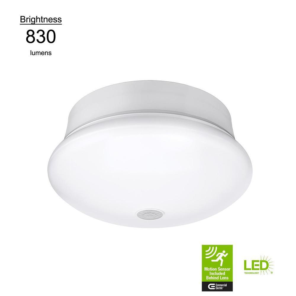Motion Sensor Motion Controlled Lighting 7 in. Round White 60 Watt Equivalent Integrated LED Flush Mount