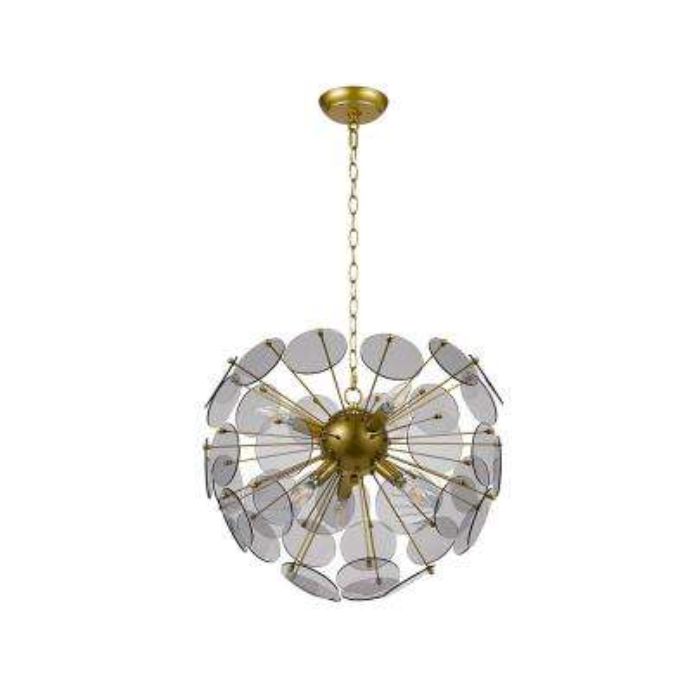 6-Light Antique Brass Modern Chandelier and LED Bulb