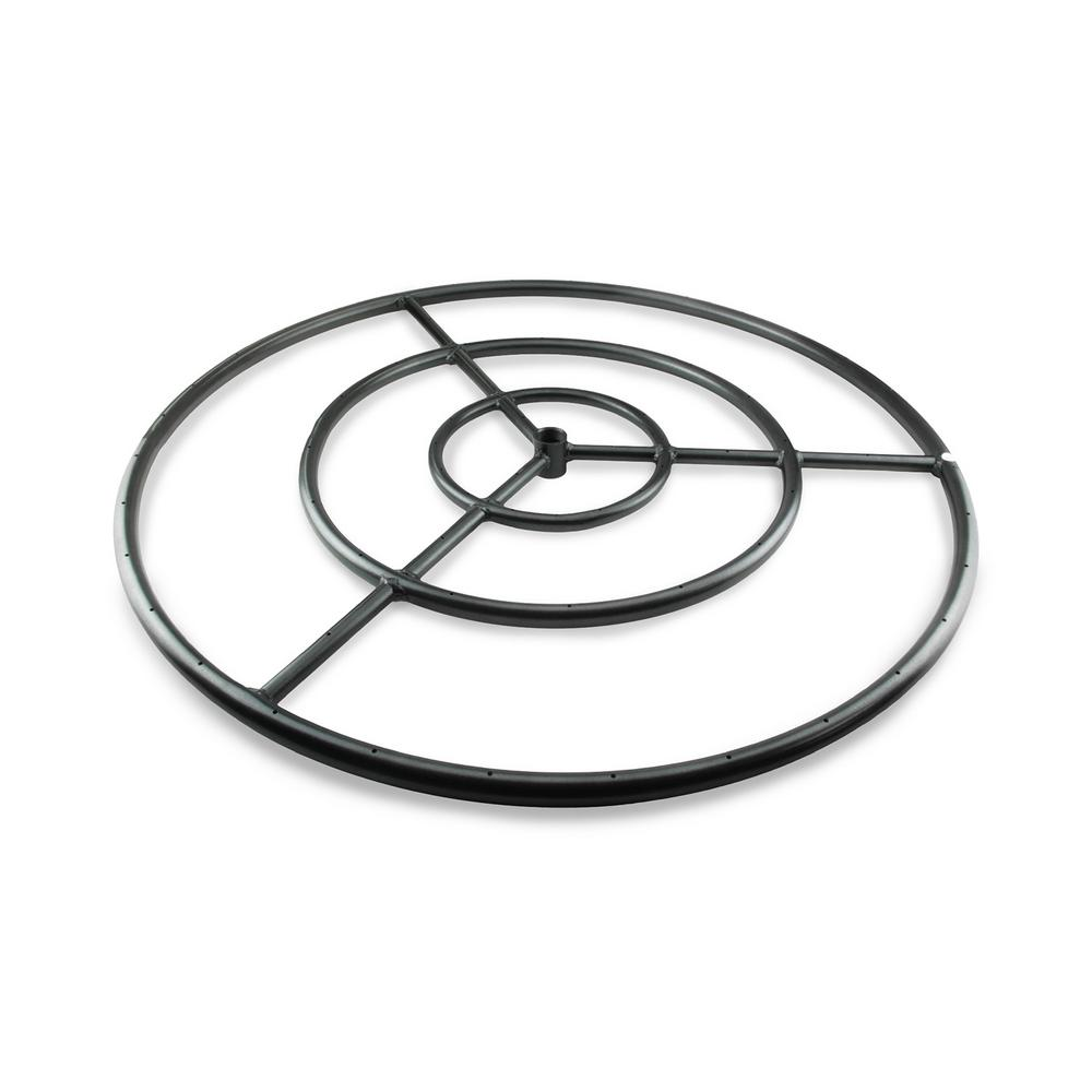 Fire Pit Essentials 30 in. Black Steel Fire Ring Burner with Connector Kit - Fire Pit Essentials 30 In. Black Steel Fire Ring Burner With