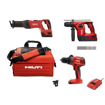 22-Volt Lithium-Ion Cordless SDS Chuck Hammer Drill/Keyless Chuck Hammer Drill Driver/Recip Saw Combo Kit (3-Tool)