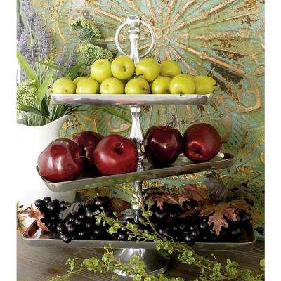 19 in. Polished Silver Aluminum 3-Tiered Rectangular Fruit Stand