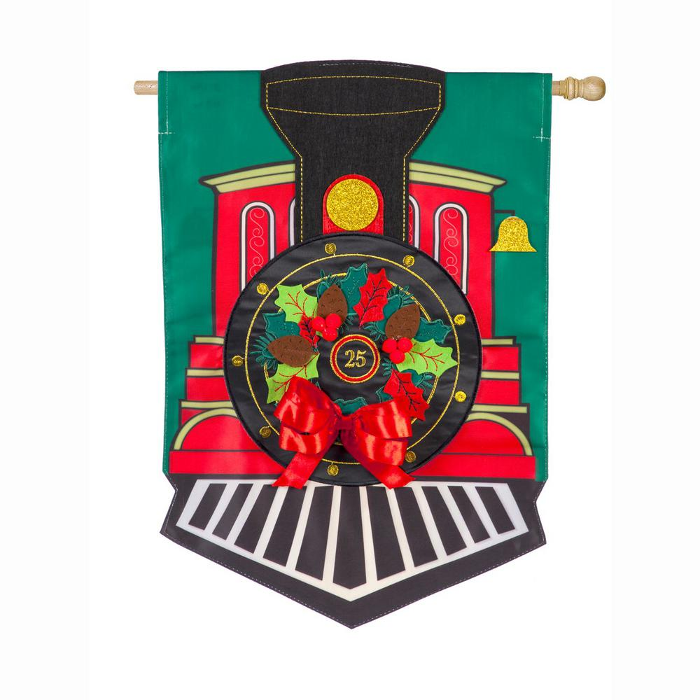 Evergreen 28 in. x 44 in. Christmas Train House Applique Flag