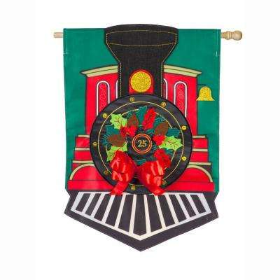 28 in. x 44 in. Christmas Train House Applique Flag