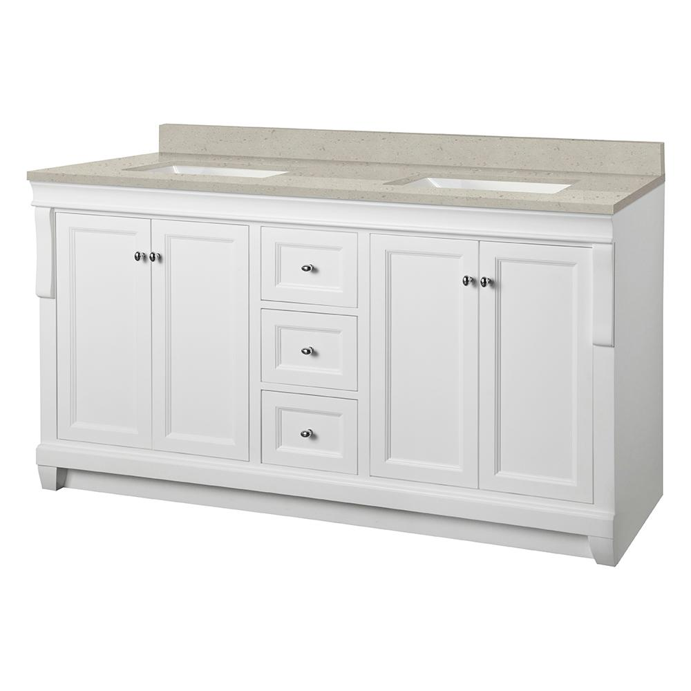 Home Decorators Collection Naples 61 in. W x 22 in. Bath Vanity Cabinet in White with Engineered Quartz Vanity Top in Stoneybrook with White Sinks